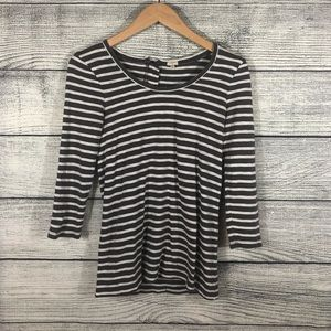 J Crew Factory Backzip Artist gray Striped Top